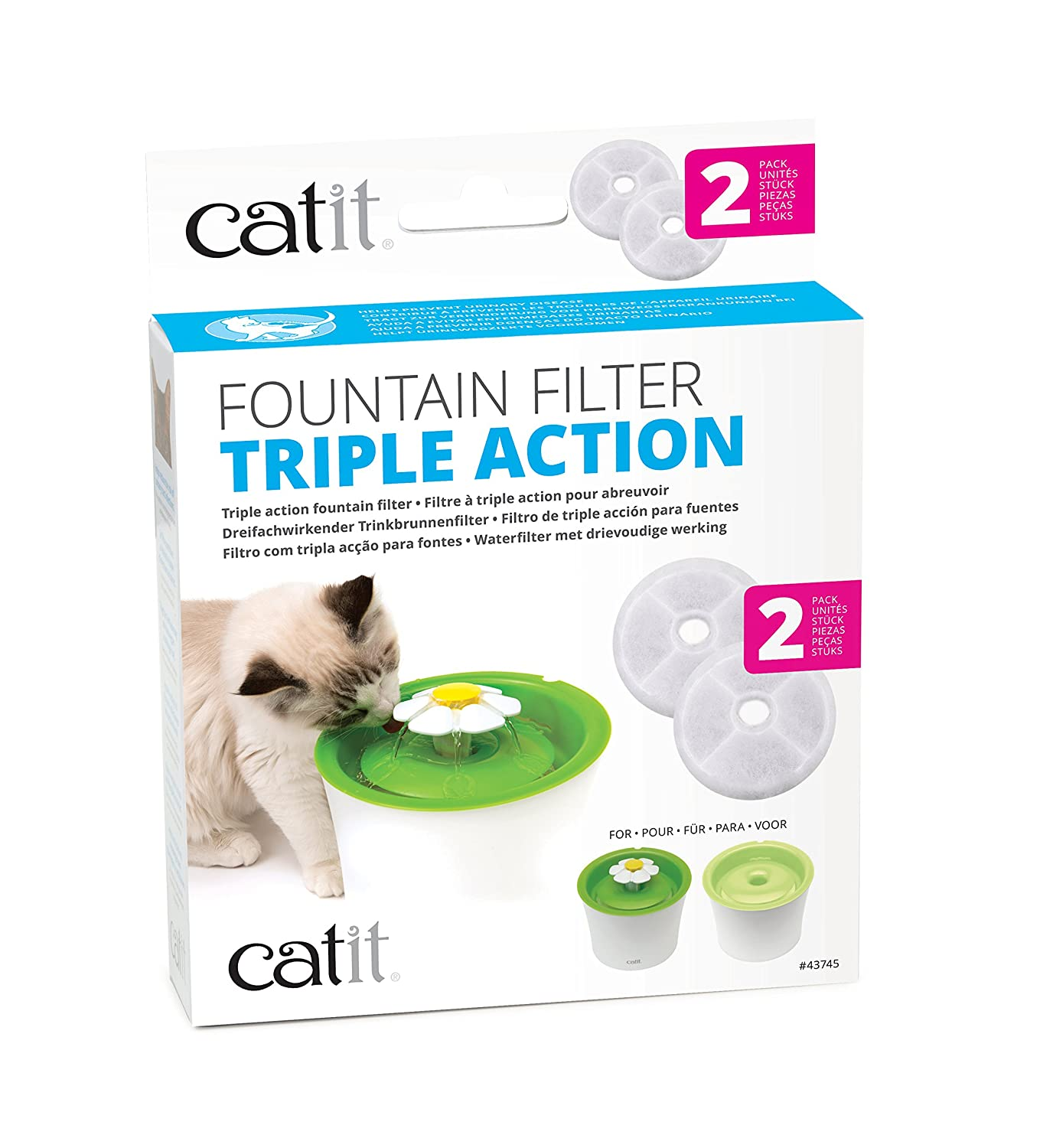 Catit 43745 Triple Action Fountain Filter 2 Pack