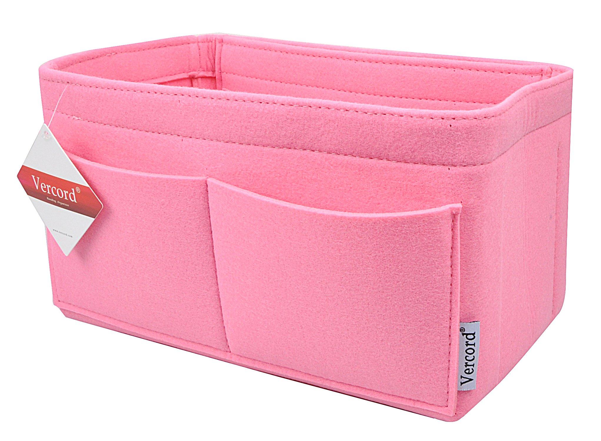 Felt Handbag organizer,Insert Purse Organizer 10 Pockets Structure Shaper 2 Size (L, Pink)