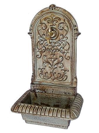 Brunnen 66cm Waschbecken Brunnen Eisen Grün Wandbrunnen Antik Stil