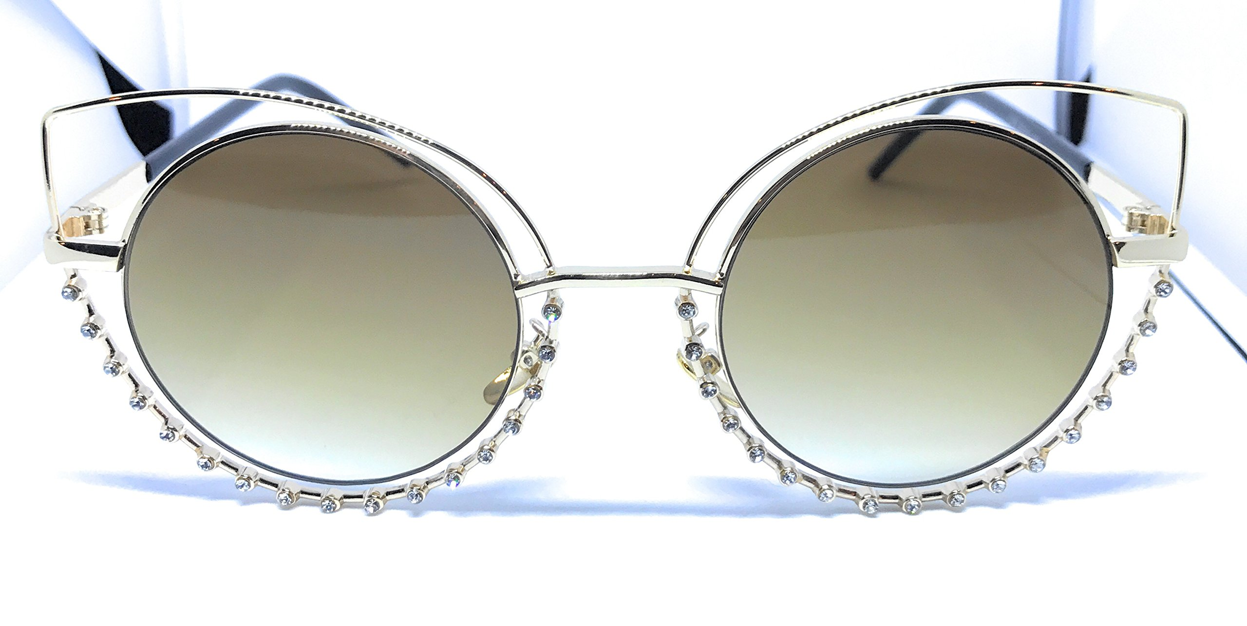 Womans Beautiful Fashion Cat Kitty Glasses With Diamon Studded Edges (gold)