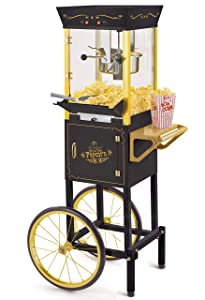 Nostalgia CCP510BK Vintage Professional Popcorn Cart-New 8-Ounce Kettle-53 Inches Tall-Black