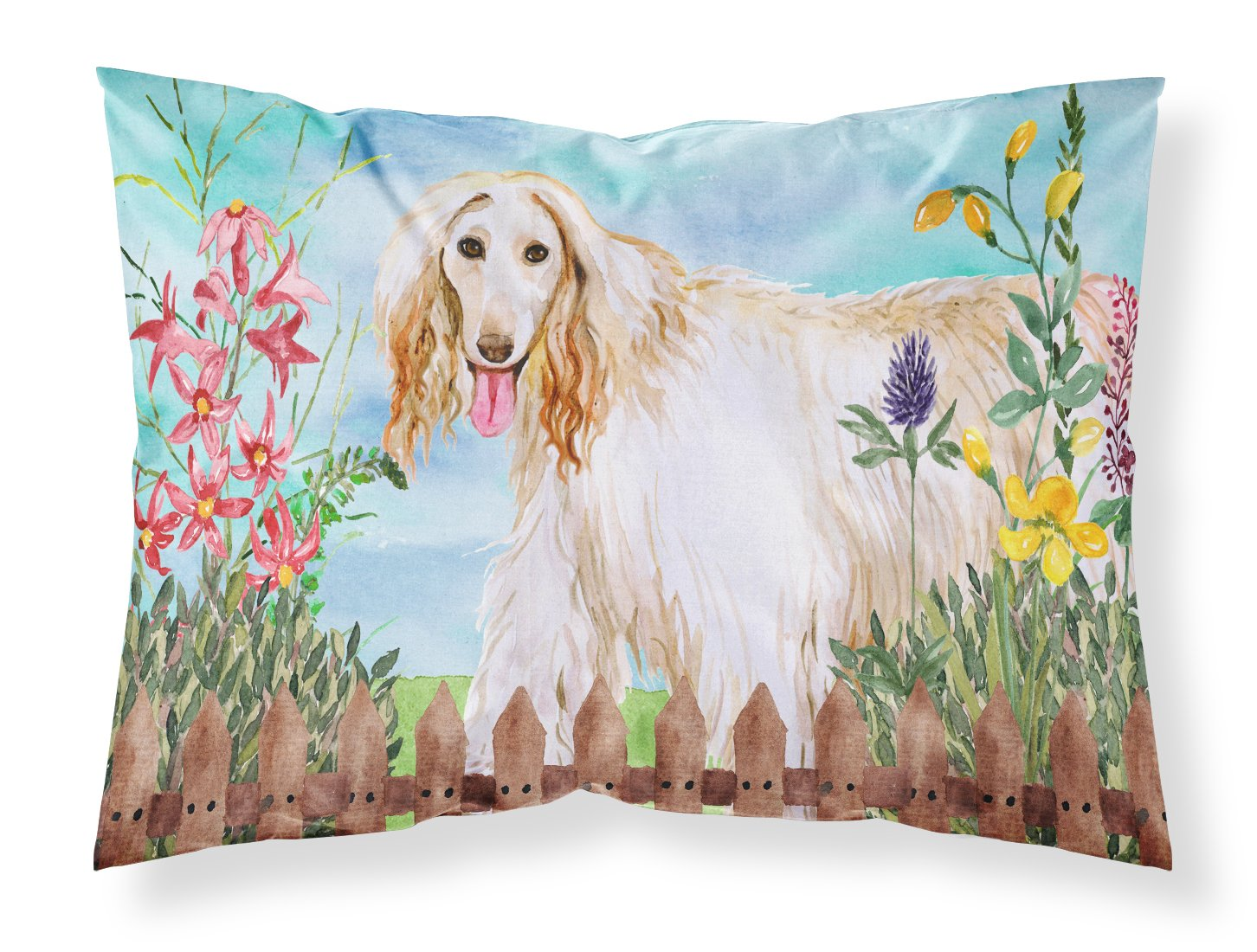 Carolines Treasures Afghan Hound Spring Pillowcase Standard Multicolor Throw Pillow Covers Decorative Pillows Inserts Covers