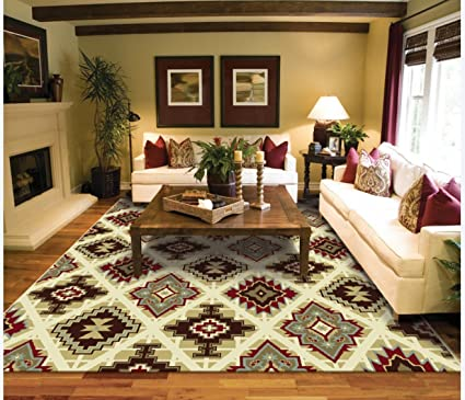 Genial Large 8 X 11 Contemporary Rugs For Living Room Cream Burgundy Beige Brown  Blue Modern Rugs
