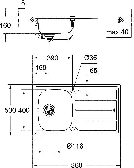 Grohe 31587SD0 K400 Evier Acier 80 cm