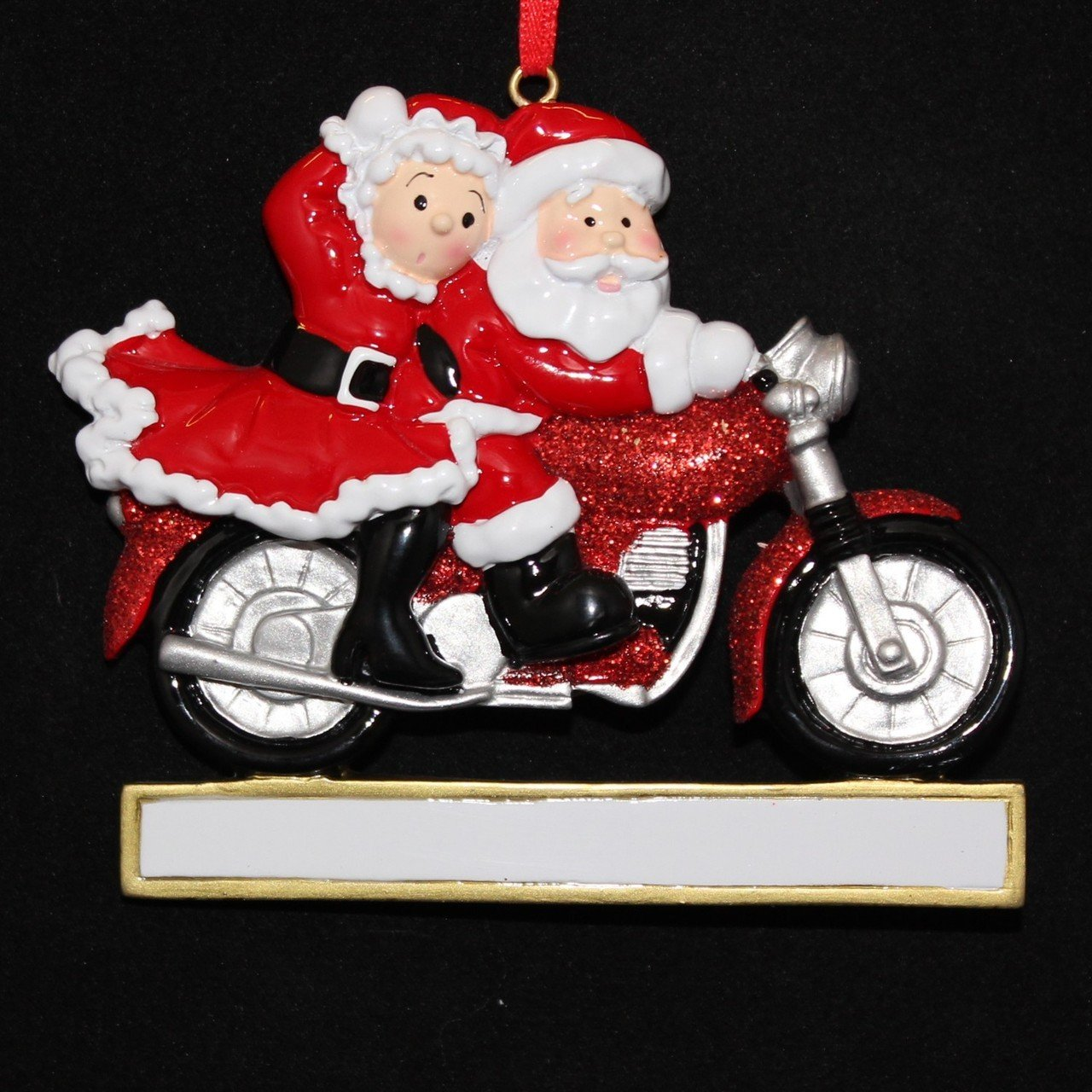 amazoncom personalized motorcycle couple santa christmas holiday gift expertly handwritten ornament home kitchen