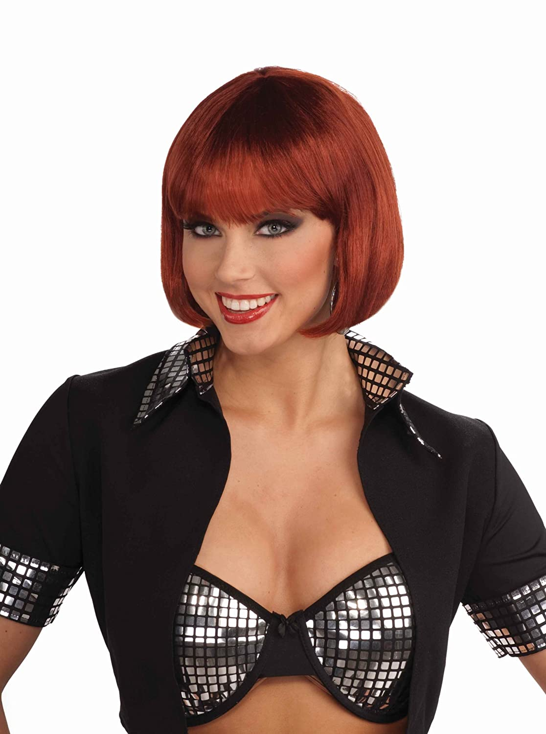 amazoncom forum novelties womens chic bob costume wig red one size clothing
