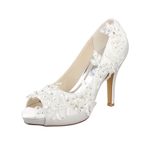 Emily Bridal Ivory Wedding Shoes Peep Toe Lace Detail Bridal Shoes Women  High Heels (EU36