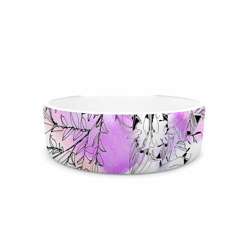 7\ KESS InHouse Danii Pollehn Flowerlights  Pink White Pet Bowl, 7