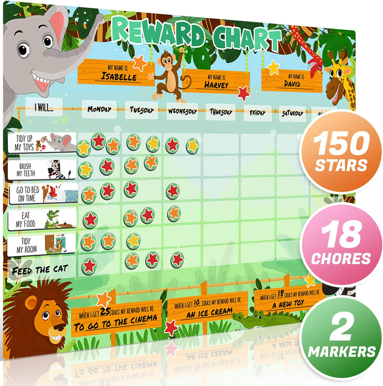 Large Safari Animal Magnetic Star/Reward Chart for Kids: Encourages Good Behaviour and Customisable with Choice of Magnets and Dry Erase Feature