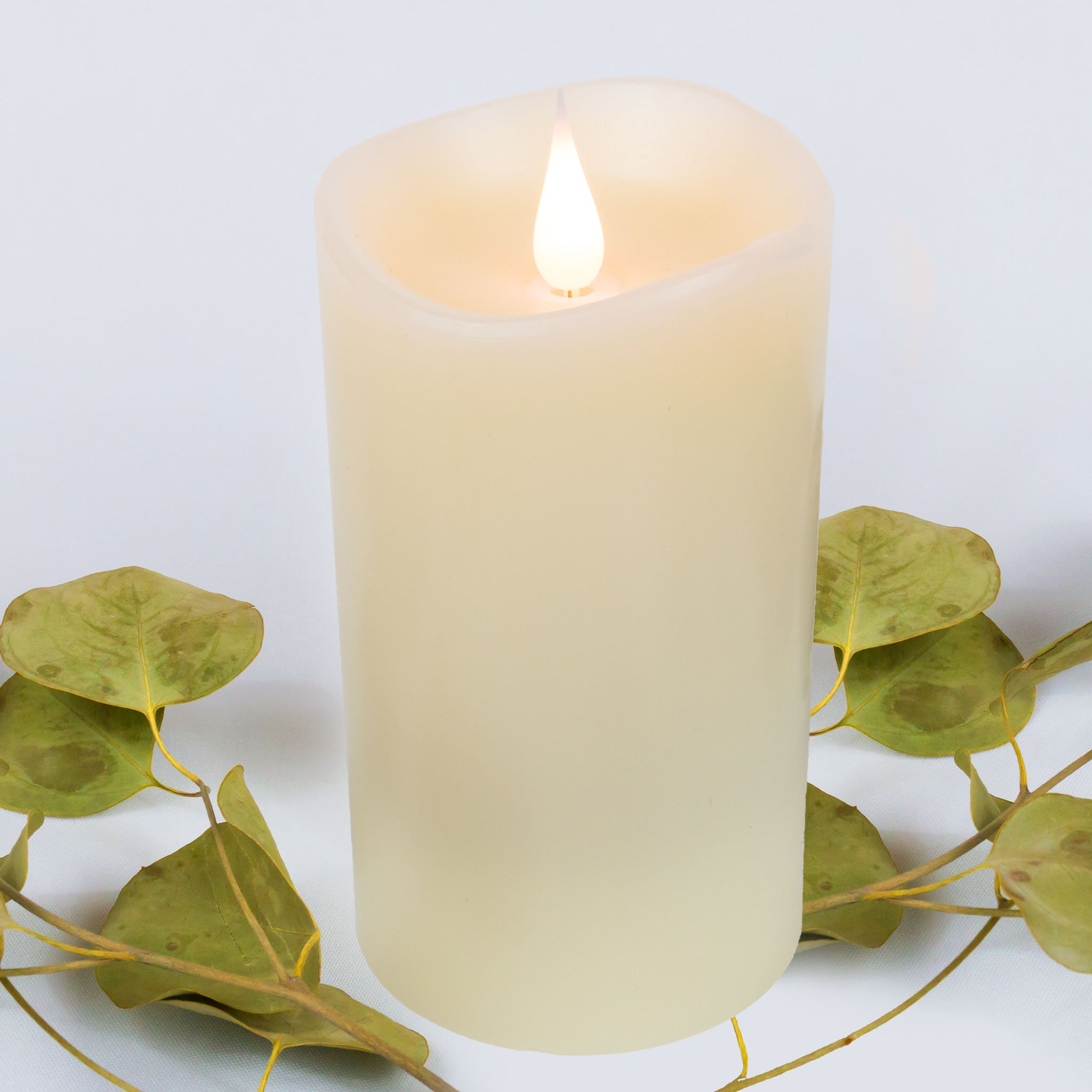 """FLAMELESS CANDLES Moving Flame LED Candle with Timer - Realistic 3D Flickering Light for Modern Home Decor, Battery Operated, Electric Votive Candle with Real Wax Pillar, Unscented, Ivory White, 3x5"""""""