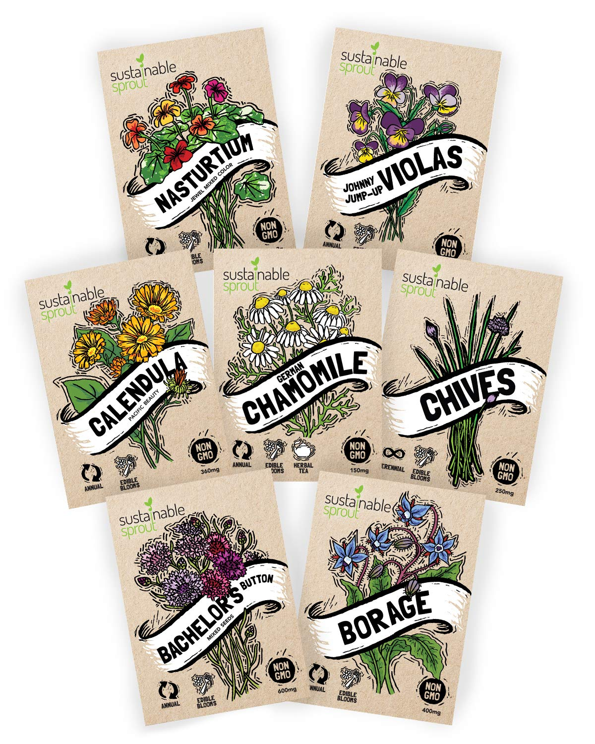 Edible Flower Seeds Variety Pack - 100% Non GMO - Nasturtium, Viola, Calendula, Chamomile, Chives, Bachelor Button, Calendula, Borage for Planting in Your Edible Blooms Culinary Garden by Sustainable Sprout (Image #1)