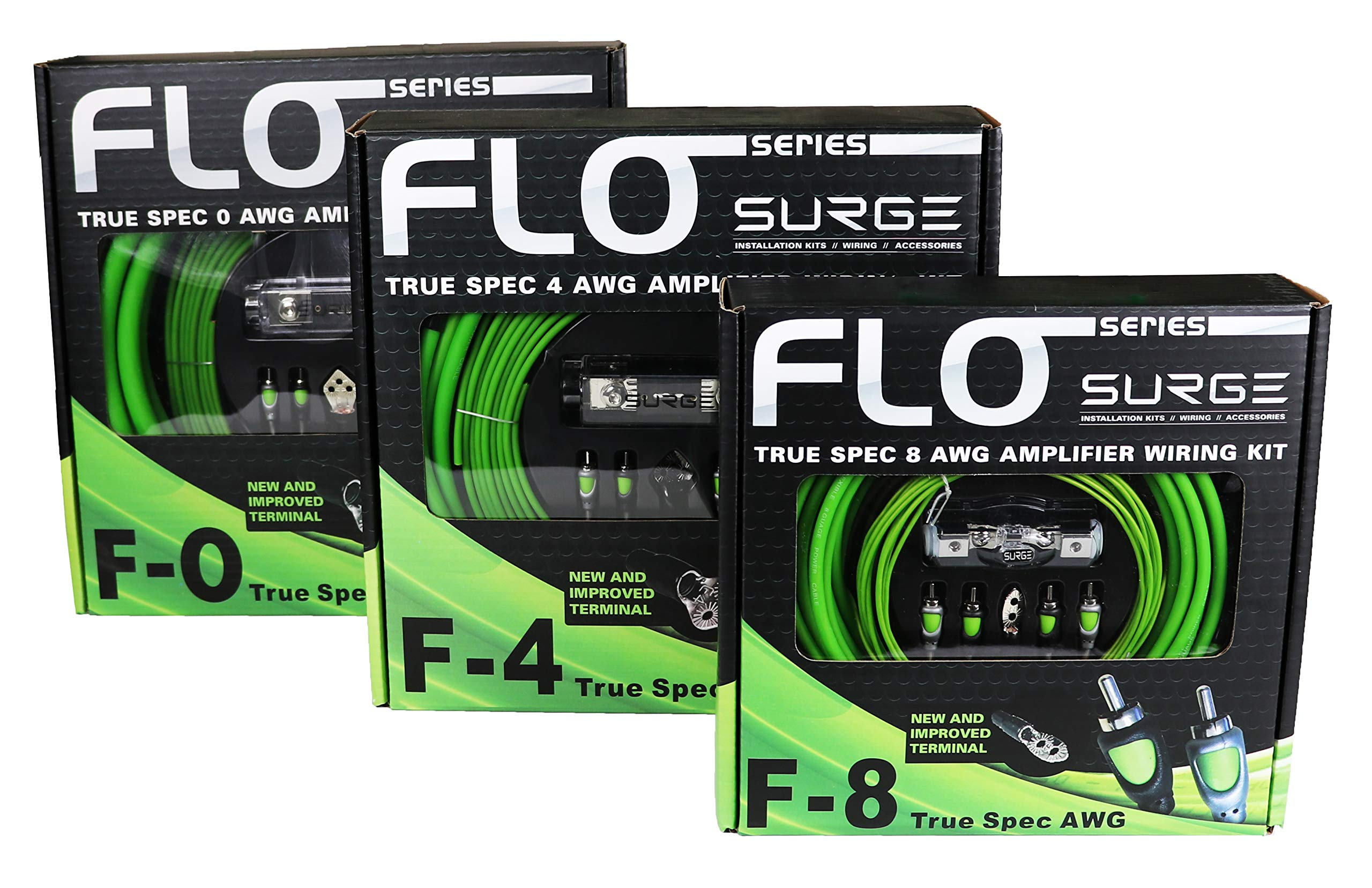 Surge F-0 Flo Series by 0 Gauge 5000W Awg Amplifier Installation Wiring Amp Install Kit by Atrend