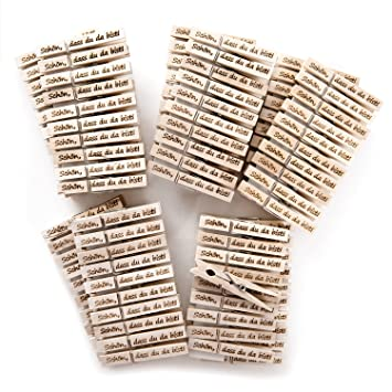 Bürobedarf klammern  100 Stück Schön dass Du da bist Zier-Natur-Holz-Deko-Wäsche ...