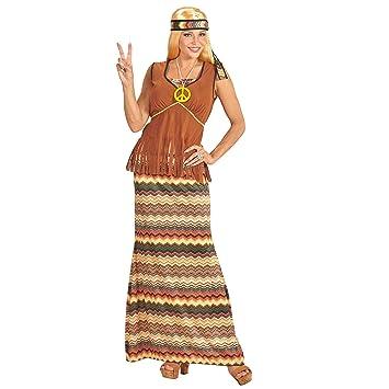 WIDMANN – Disfraz Adulto Hippie para Mujer, Vestido con Chaleco, Falda, Cinta para