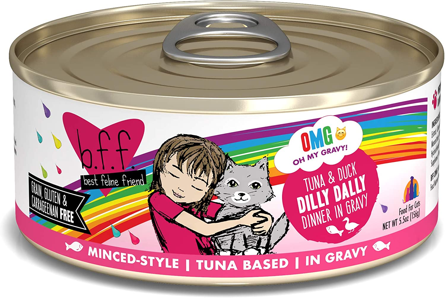Weruva B.F.F. OMG - Best Feline Friend Oh My Gravy! Grain-Free Natural Wet Cat Food Cans, Tuna Recipes in Gravy