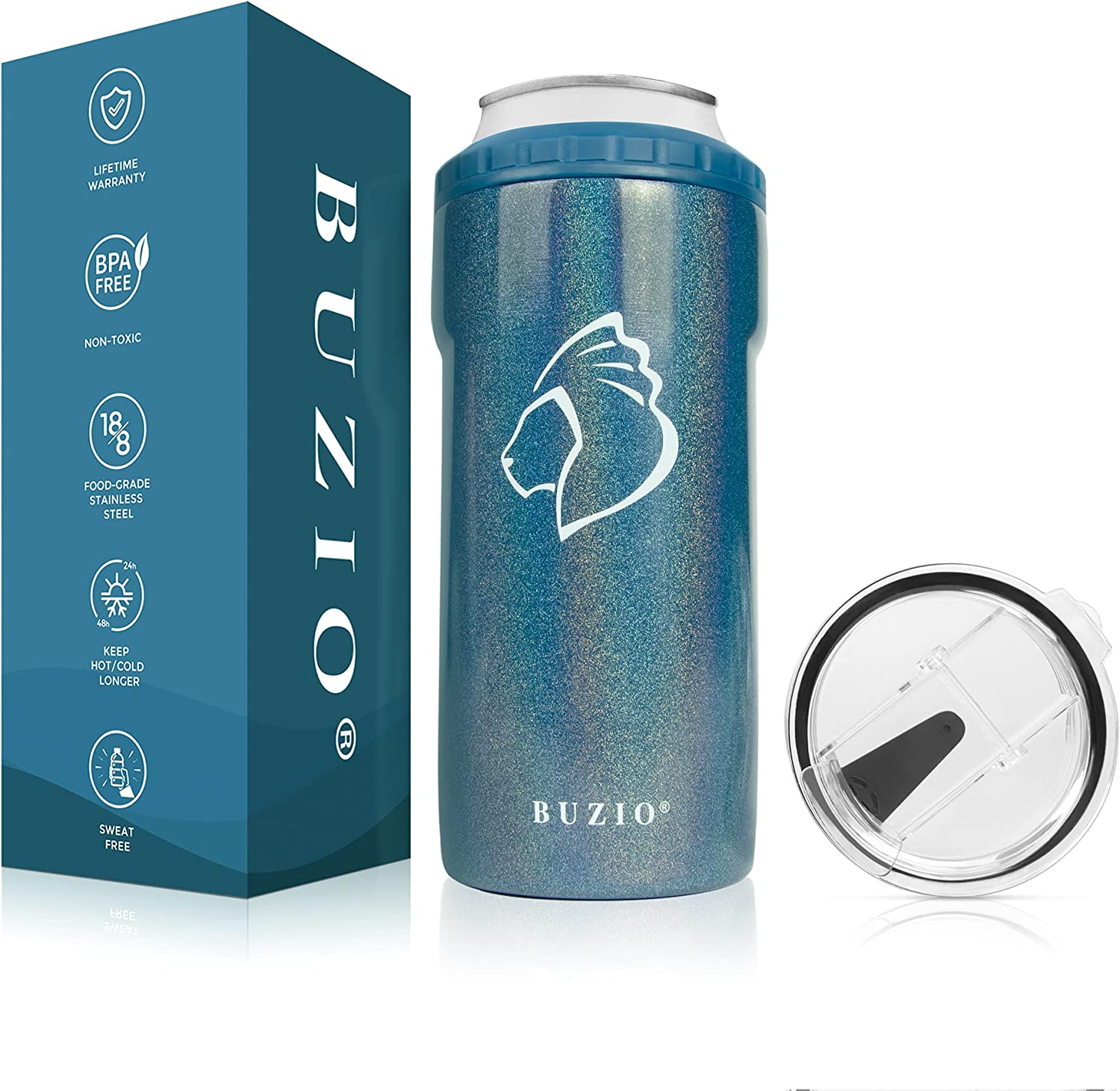 BUZIO 4-IN-1 Can Cooler Holder, Double Wall Vacuum Insulted Stainless Steel Beer Keeper for Beer, Soda, Beverages and Mixed Drink Sweat-Free,Cobalt