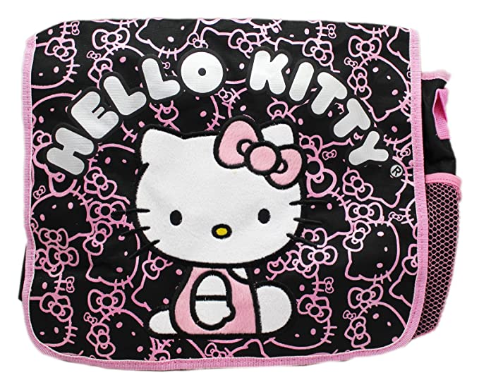 c400f0aae402 Image Unavailable. Image not available for. Color  Hello Kitty Light Pink Black  Face Pattern Kids Size Messenger Bag