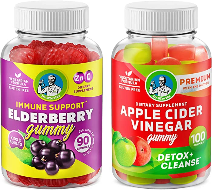 Apple Cider Vinegar Gummies and Elderberry Vitamins - Natural Immune System Booster and Health Support with Raw ACV Supplement for Detox & Cleanse Healthy Digestion – Weight Loss & Immunity Support