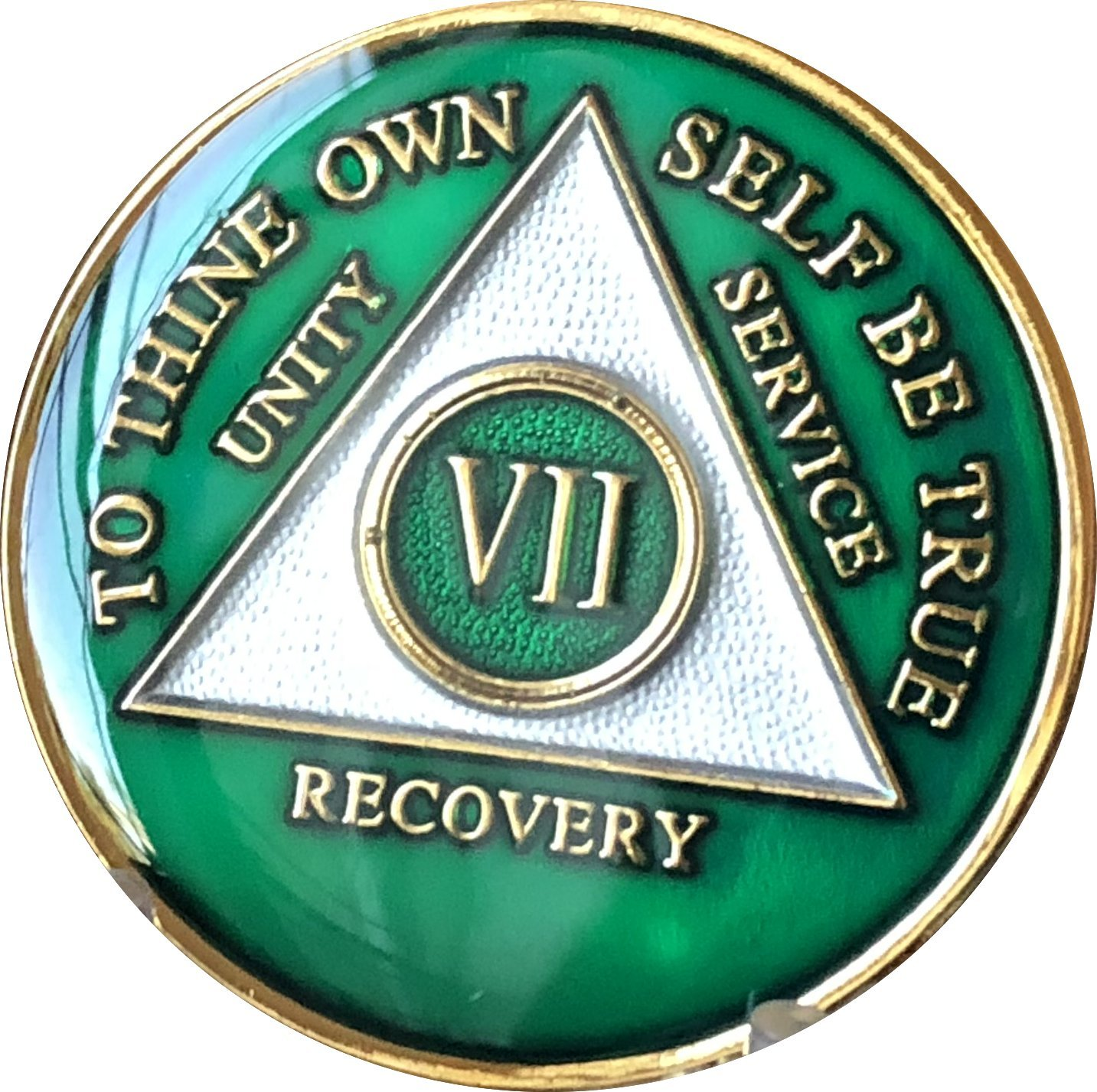 7 Year AA Medallion Metallic Green Tri-Plate Gold Plated Chip VII