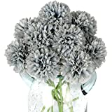 Blooming Paradise 10Pcs Artificial Fake Flower Plants Silk Chrysanthemum Ball Hydrangea Arrangements Wedding Bouquets…