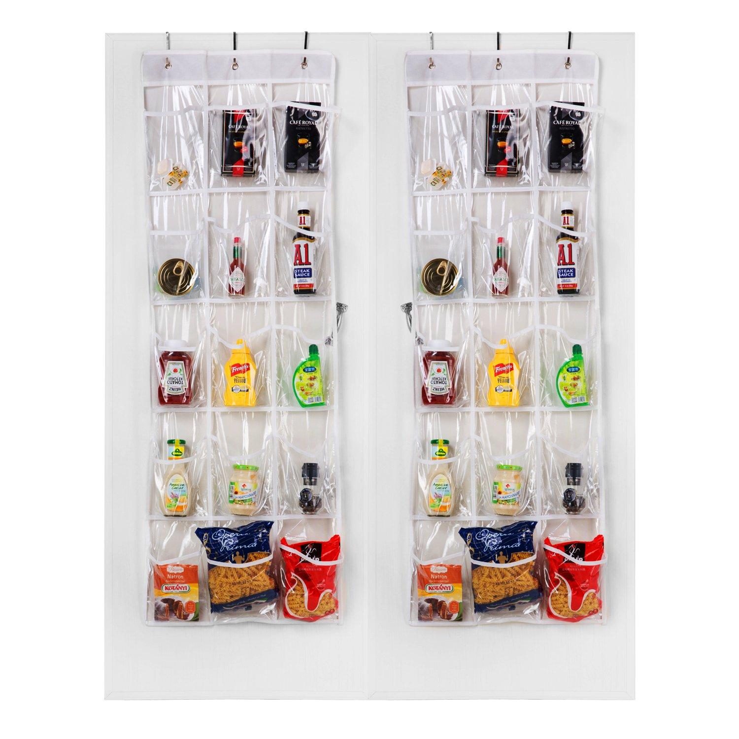 Meldarin Crystal Clear Over The Door Hanging Pantry Organizer 15 Pockets (52
