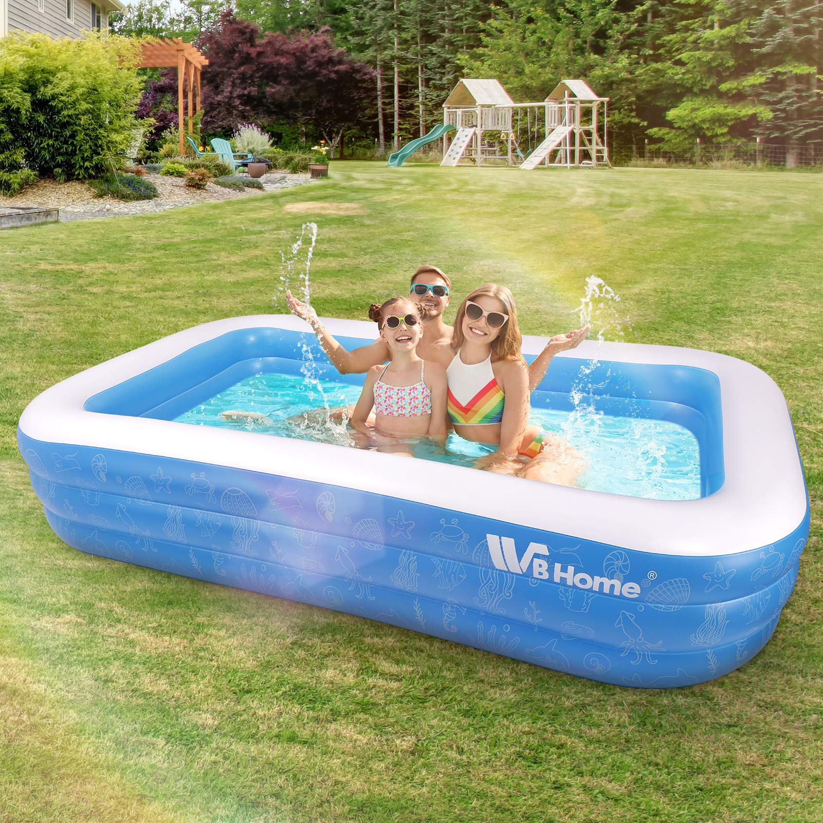 WBHome Family Inflatable Swimming Pool 118″ X 70″ X 22″ Large Inflatable