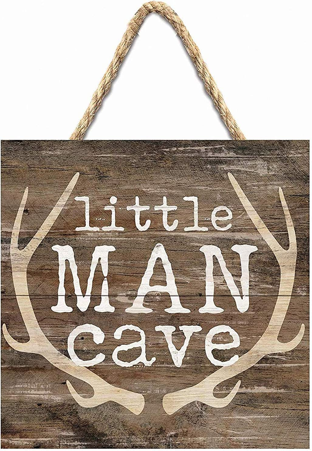 WANerryzy Little Man Cave Antlers Rustic Brown 7 X 7 Inch Wood Pallet Wall Hanging Sign