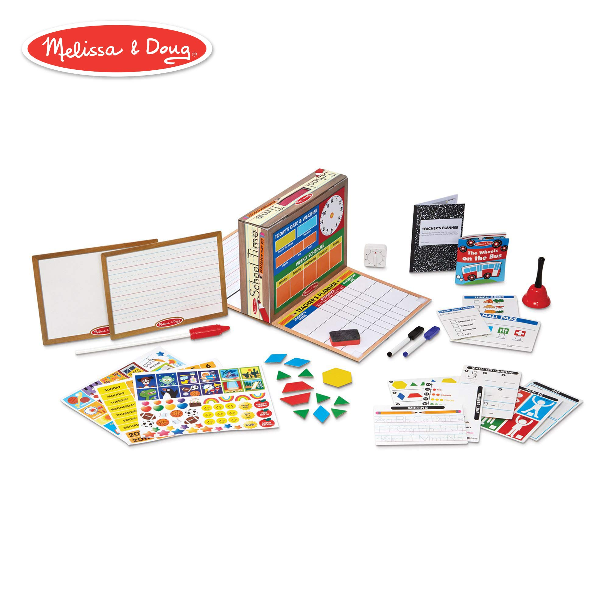 Melissa & Doug School Time! Classroom Play Set (Role-Play Center, Reusable Double-Sided Boards, Easy Storage Box, 150+ Pieces, 13.5'' H x 10.5'' W x 4'' L) by Melissa & Doug (Image #1)