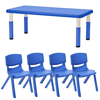e9594402606c3 ECR4Kids 24 quot  x 48 quot  Rectangle Resin Activity Table with Four  12 quot  Resin Chairs