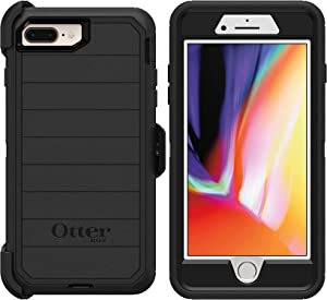 OtterBox Defender Series Rugged Case & Belt Clip Holster for iPhone 8 Plus & iPhone 7 Plus (ONLY) Retail Packaging - with Microbial Defense (Black)