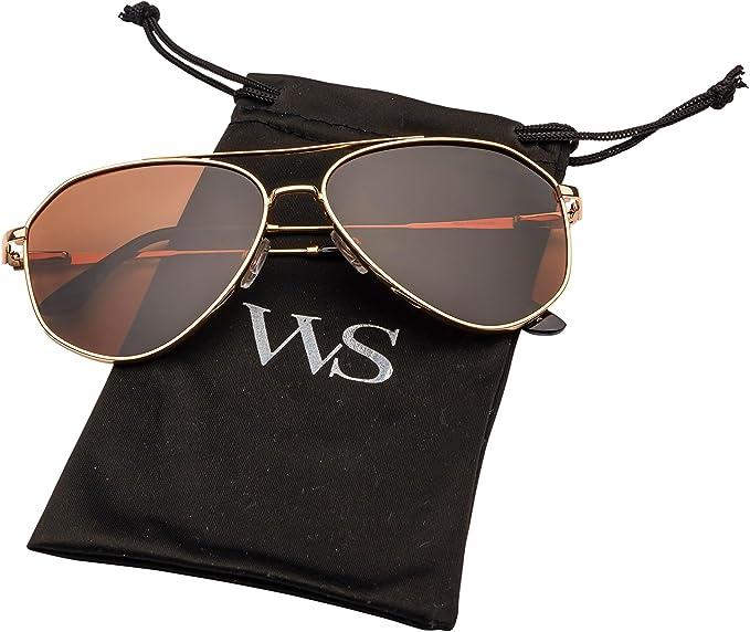 Designer Inspired Flat Tot Aviator Sunglasses Mirrored Lens Women Fashion