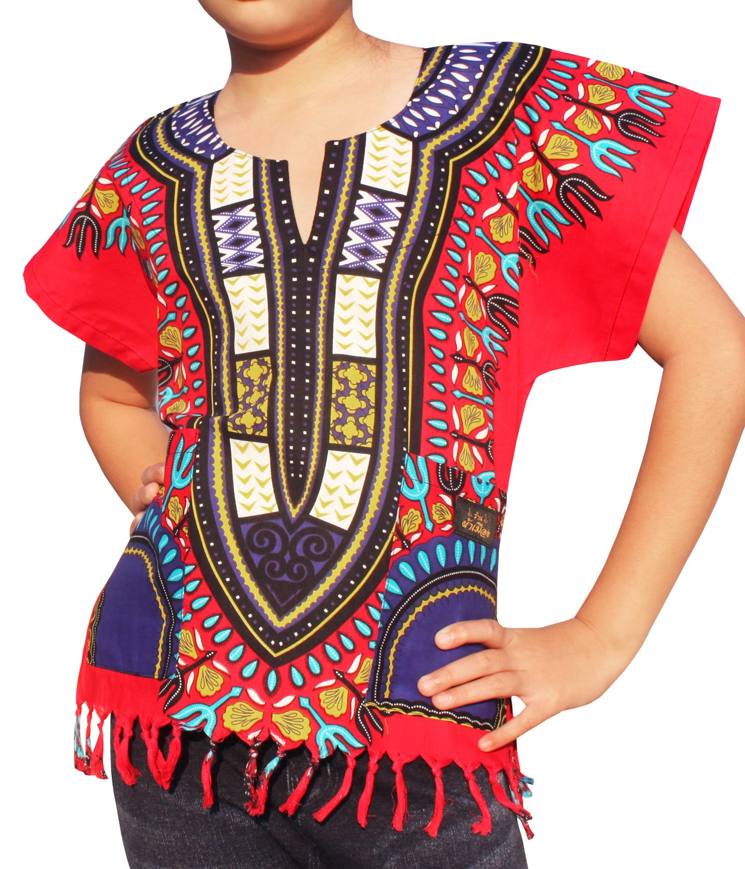 Raan Pah Muang RaanPahMuang Branded Cotton Childs Dashiki Shirt Tassels and Pockets Bold Colours, 8-10 Years, Red