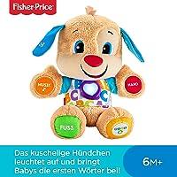 Fisher-Price FPM50 - Lernspaß Hündchen, Plüschtier und Lernspielzeug mit Liedern und Sätzen, mitwachsende Spielstufen, Baby Spielzeug ab 6 Monaten, deutschsprachig