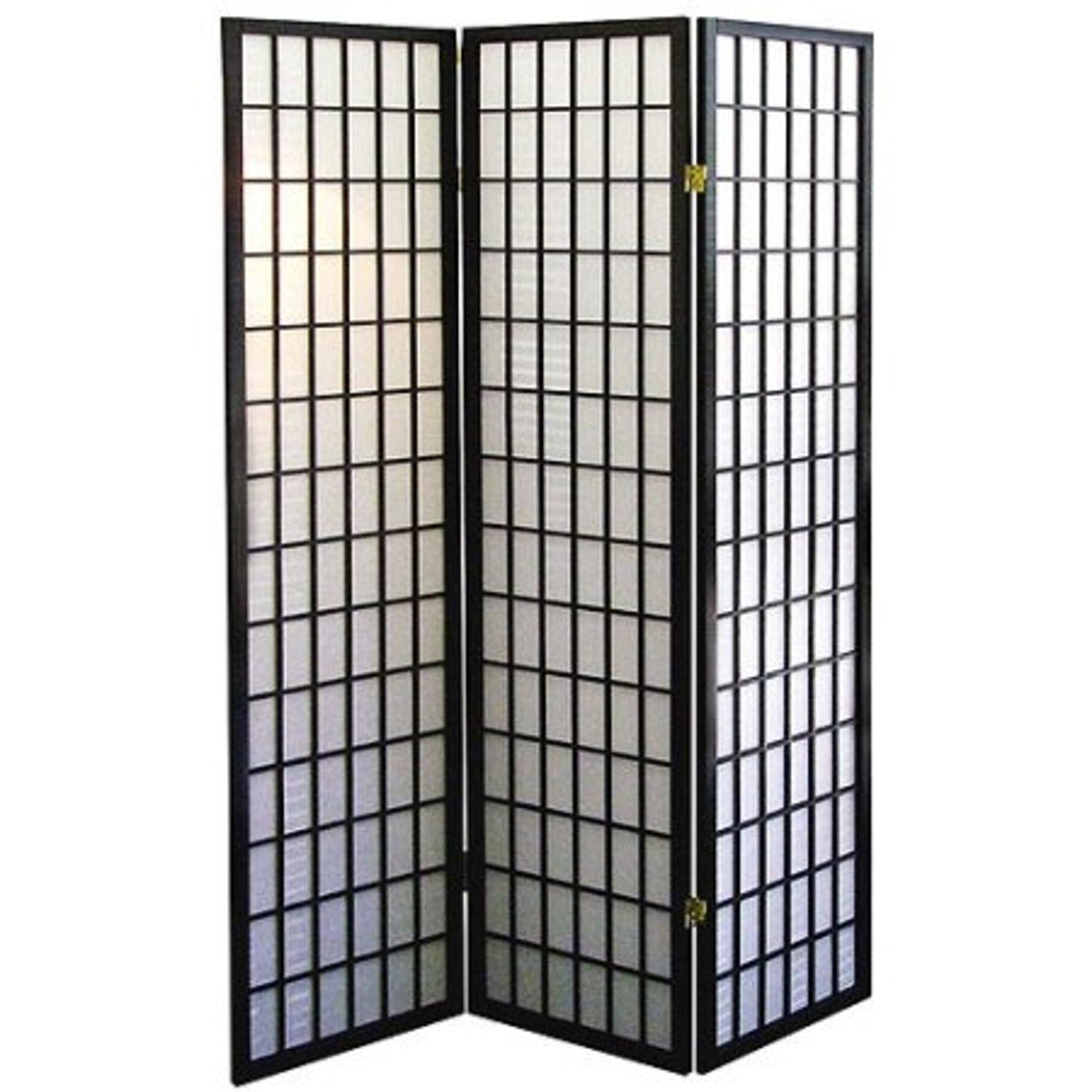 Black Asian Furniture Style Screen Room Decor 3-Panel Divider