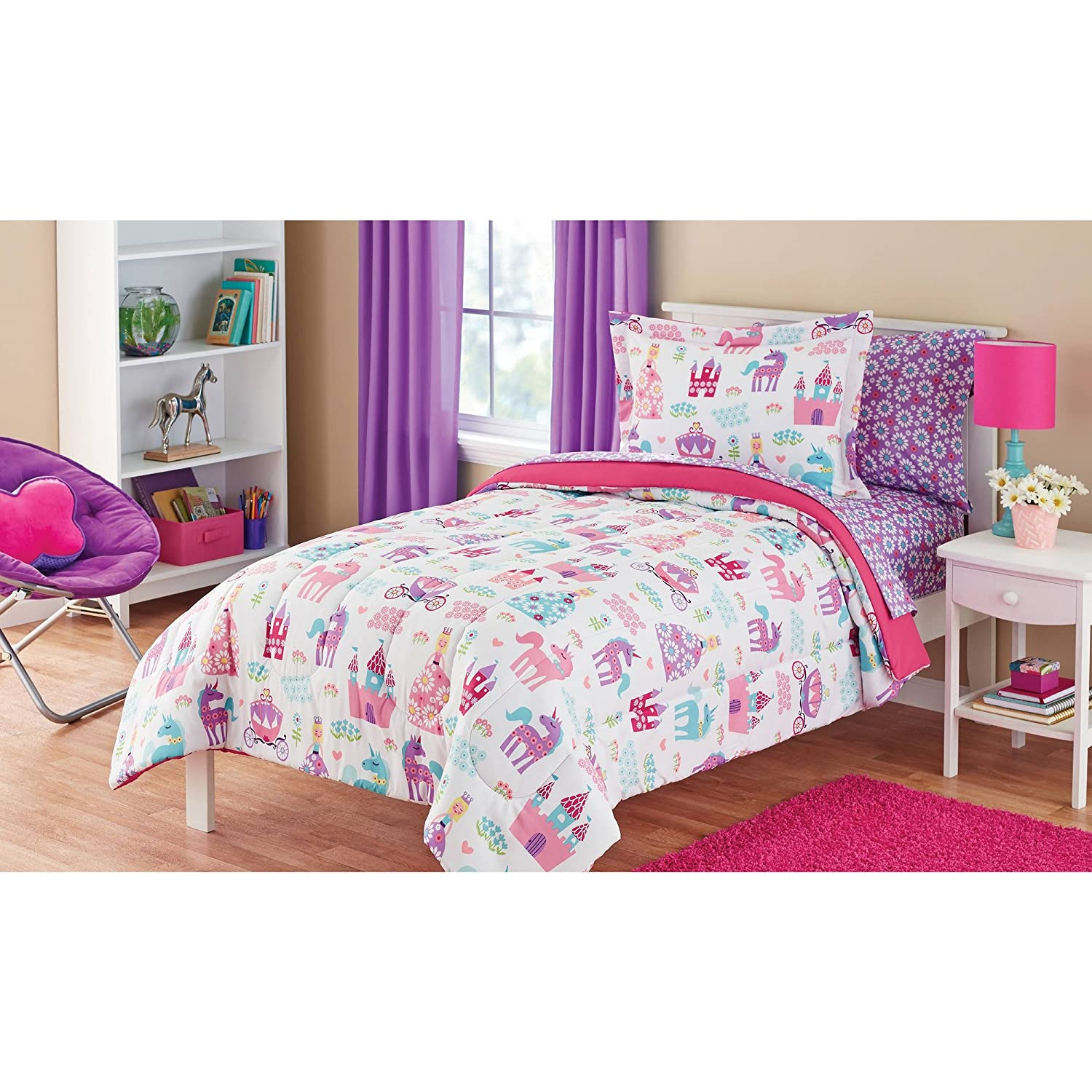 Home 187 unicorn quilt cover set return to previous page - Amazon Com Super Cozy Kids Pretty Princess Bed In A Bag Bedding Set Twin Full Perfect For Your Little Princess Twin Home Kitchen
