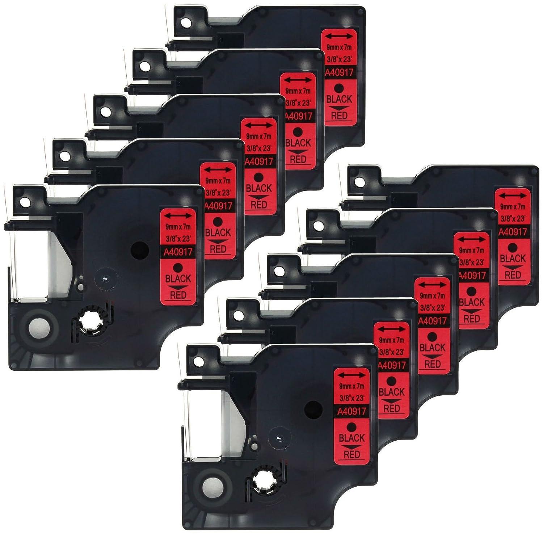 2 Casetes de Cinta compatibles con Dymo D1 40917 S0720720 Negro sobre Rojo 9mm x 7m para DYMO LabelManager 100 110 120P 150 155 160 200 210D 220P 260 260D 280 300 350 350D 360D 400 420P 450 450D 500TS PC PC2 PnP LabelPoint 100 150 200 250 300 350 LabelWrit