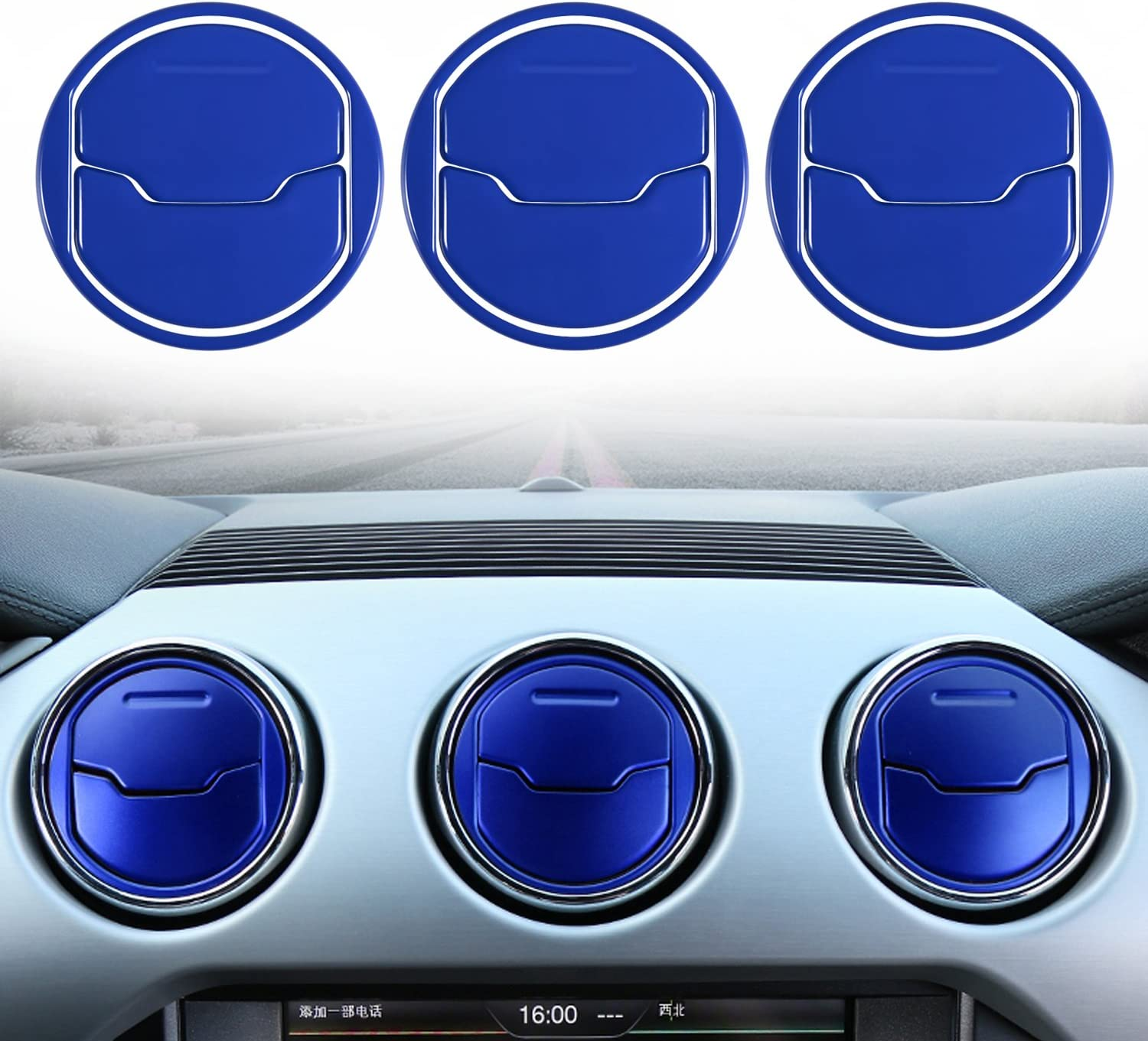 Blue Danti 9 PCS Aluminium Alloy Dashboar Console Central Air Conditioner Outlet Vent Cover Trim For Ford Mustang 2015 2016 2017 2018 wen wen top