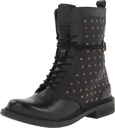 c348743081d80 Calvin Klein CK Jeans Women's Cassey Waxy Linen/Leather Lace-Up Boot,Black