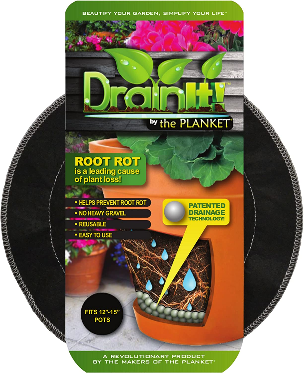 DrainIt! Plant Container Disc, 12 to 15-Inch