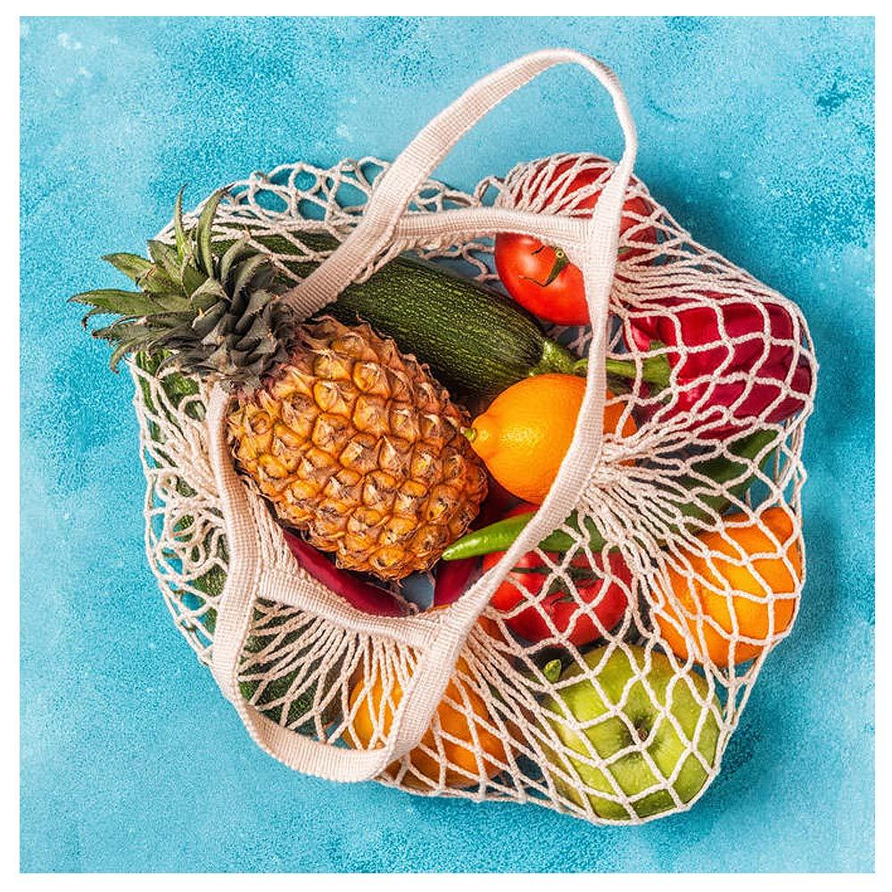 la fruta para la compra las verduras y el mercado de Meetory los juguetes Paquete de 3 bolsas organizadoras de malla de algod/ón reutilizables y port/átiles el almacenamiento la playa