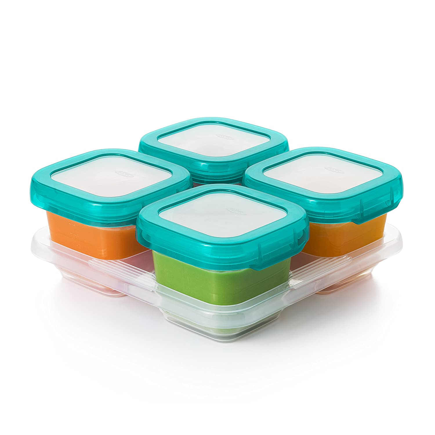 OXO Tot Baby Blocks Food Storage Containers, Teal, 4 Ounce 61130000