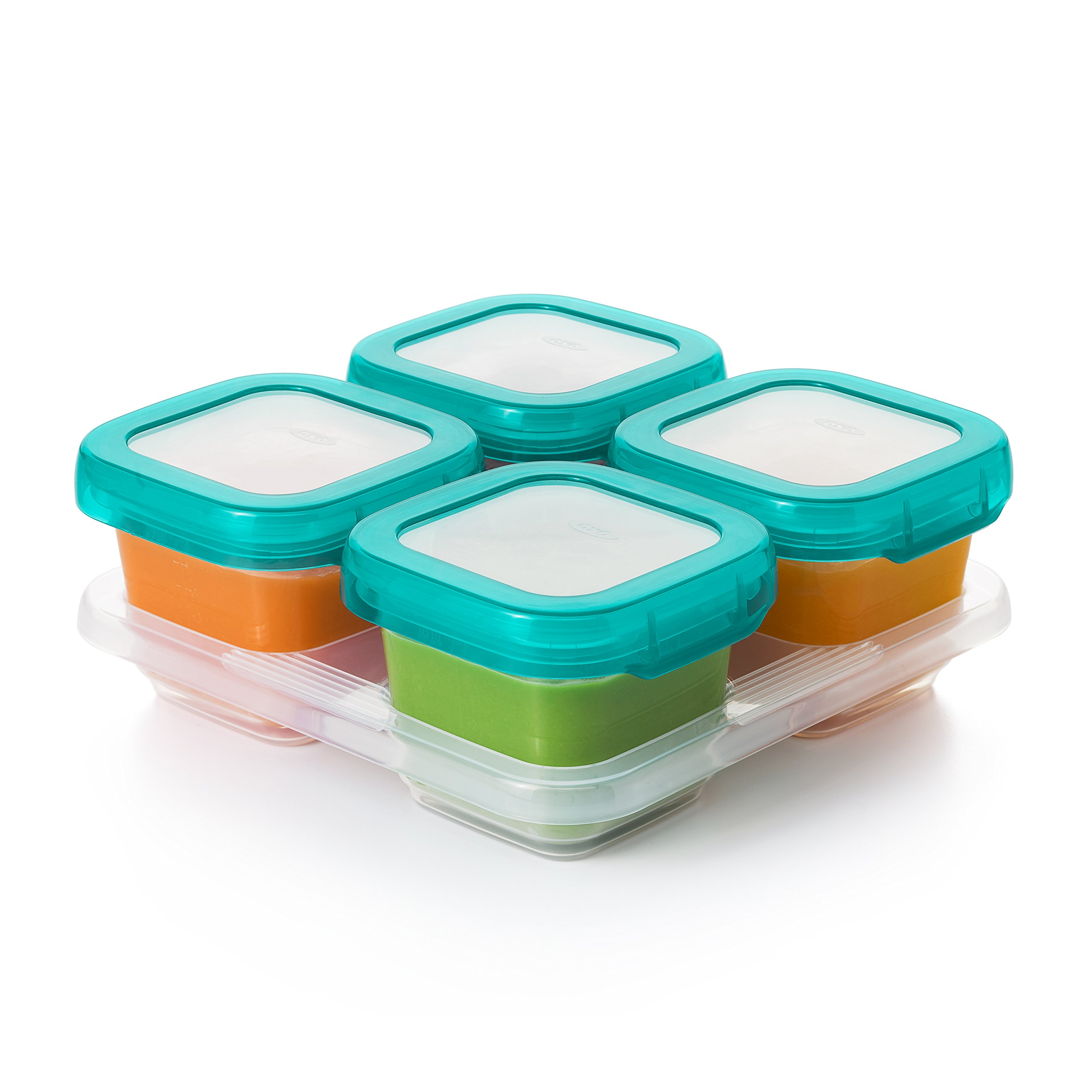 OXO TOT Baby Blocks Food Storage Containers, Teal, 6 oz