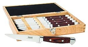 Viking Pakka Wood Steak Knife Set with Rubberwood Box, 6 Piece, Red