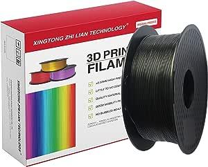 3D Printer Filament PLA 1.75mm, 3D Printing Filament PLA for 3D Printer and 3D Pen, Metallic Color PLA Filament, Black PLA Filament, Dimensional Accuracy +/- 0.02mm,1kg (2.2lb) Spool(Black)