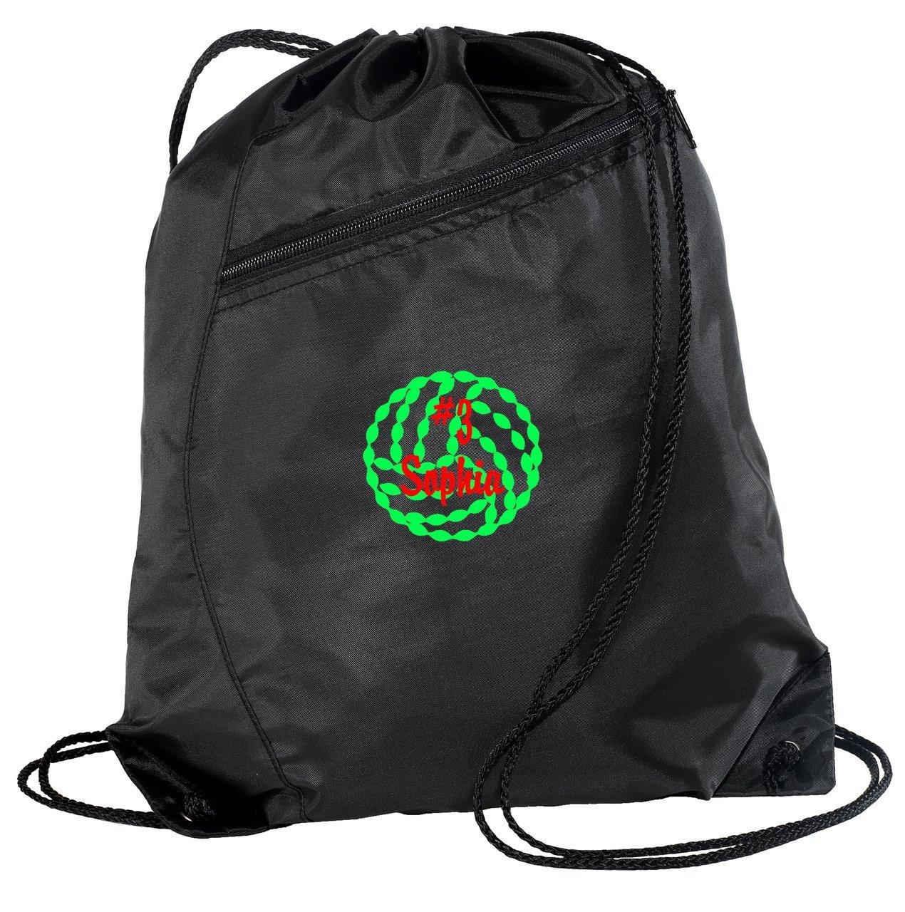 PersonalizedバレーボールDrawstringカラーブロックCinch Packバックパック B018KWY4D8 ブラック/ブラック ブラック/ブラック