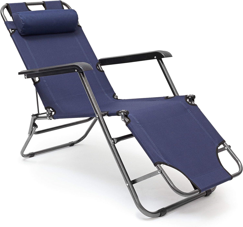 Tumbona plegable Relaxdays, 35x 60,5x 153cm tumbona de jardín de 3posiciones con funda de poliéster y reposabrazos, tumbona plegable con reposacabezas extraíble como silla de camping, color azul o
