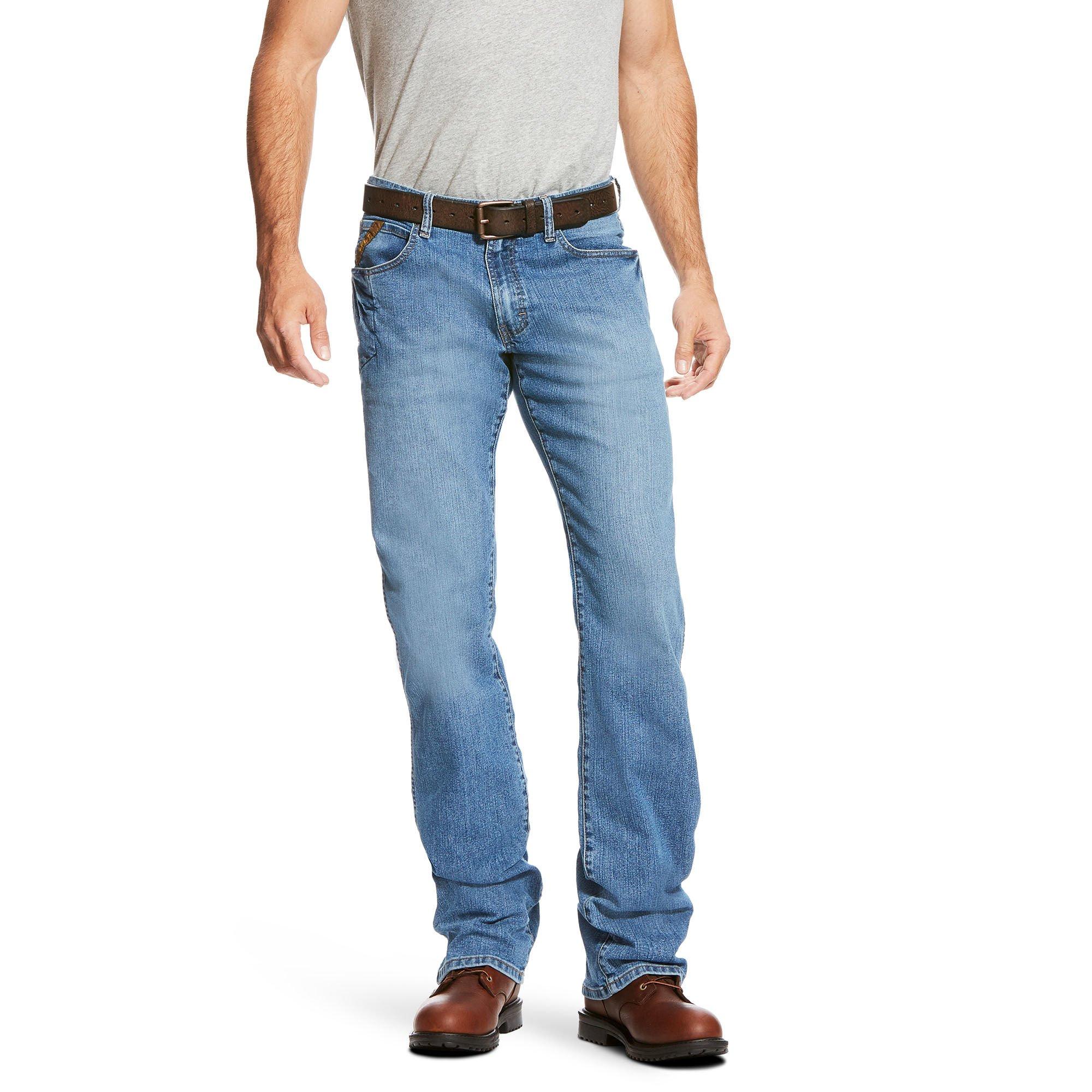 Ariat Men's M4 Rebar Low Rise Boot Cut Stretch Jean, Blue Haze, 36X30