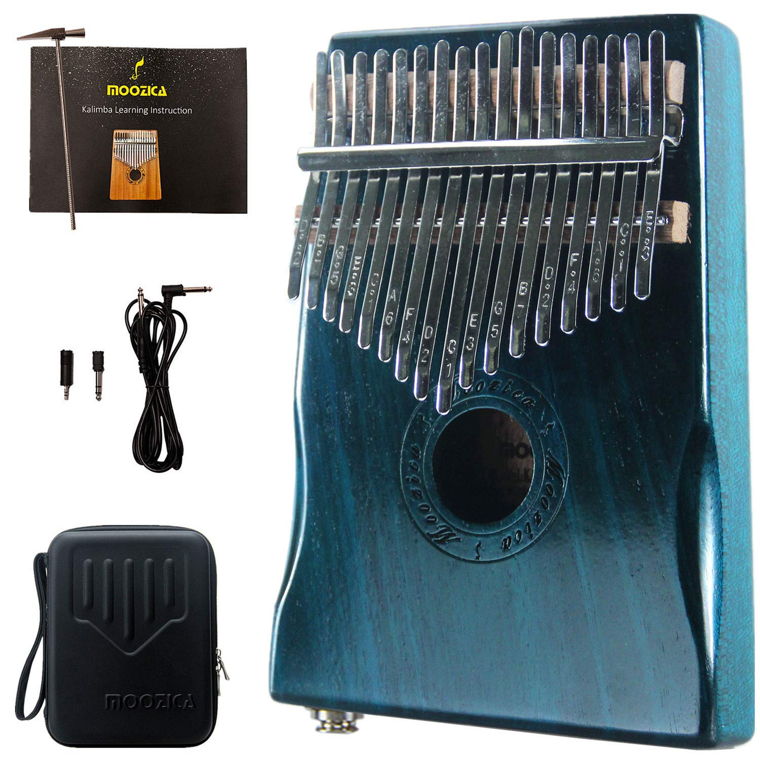 Moozica 17 Keys Mahogany Tone Wood EQ Kalimba, Electric Finger Thumb Piano Built-in Hi-Fi Pickup With 6.35mm Audio Interface(Dark Green) by Moozica