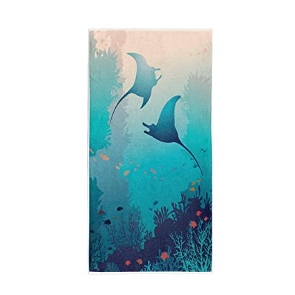 Amazon.com: Pinbeam Bath Towel Silhouette of Two Mantas and ...