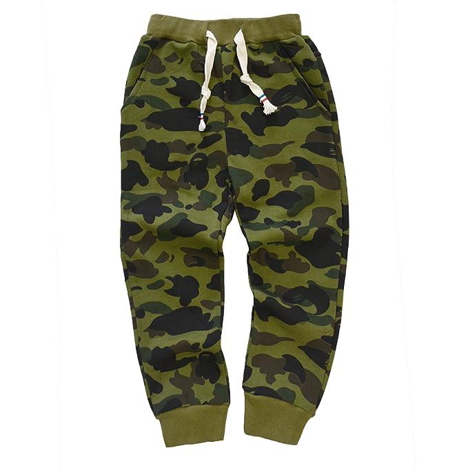 d5f6c2d0fc0833 KISBINI Boy's Cotton Camouflage Sweatpants Sports Pants for Children Army  Green 4T